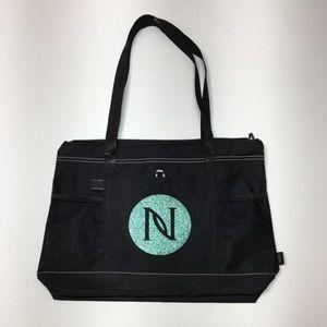Handbags - Cute Black and Turquoise Monogramed Tote Bag